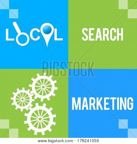 Local search marketing concept image with text and related symbols over blue background.