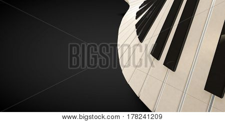3d render of a piano keyboard in a fluid wavelike movement music