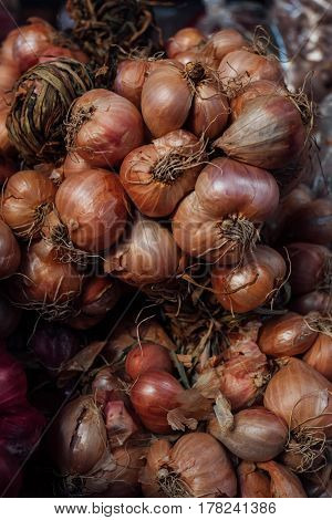 Dry Shallots In Market For Cooking