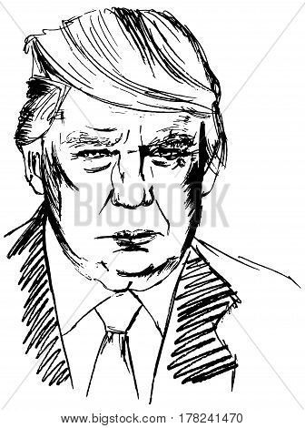Madrid, Spain - March 17, 2017: a portrait of Donald Trump, American president. Hand drawn vector illustration on white background