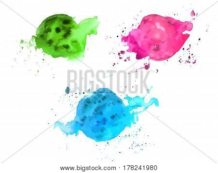Abstract pink, teal, and green watercolor stains on white background, scalable vector graphic