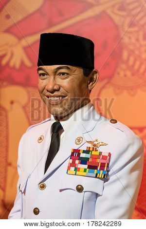 Bangkok - Jan 29: A Waxwork Of Soekarno On Display At Madame Tussauds On January 29, 2016 In Bangkok