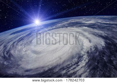 Giant cyclone on the planet Earth due to the global warming that will cause an increase in temperature and rainfall.