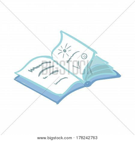 Workout and fitness dieting copy space diary. Healthy lifestyle element. Fitness, sport, exercising and diet concept. Vector illustration