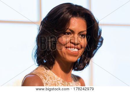 Bangkok -jan 29: A Waxwork Of Michelle Obama On Display At Madame Tussauds On January 29, 2016 In Ba