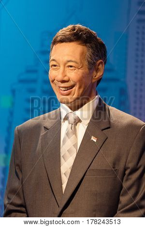 Bangkok -jan 29: A Waxwork Of Lee Hsien Loong On Display At Madame Tussauds On January 29, 2016 In B