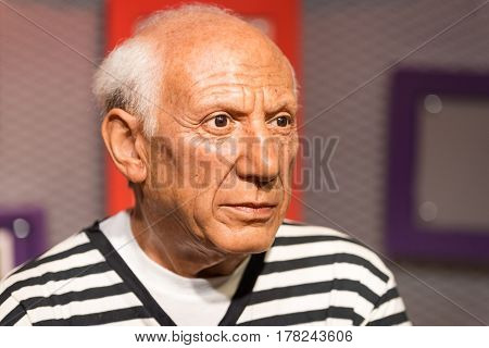 Bangkok - Jan 29: A Waxwork Of Pablo Picasso On Display At Madame Tussauds On January 29, 2016 In Ba