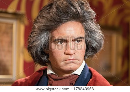 Bangkok-jan 29: A Waxwork Of Ludwig Van Beethoven On Display At Madame Tussauds On January 29, 2016