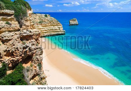 An empty beach in the Algarve, Portugal