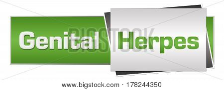 Genital herpes text written over green grey background.