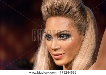 Bangkok-jan 29:: A Waxwork Of Beyonce Knowles On Display At Madame Tussauds On On January 29, 2016 I