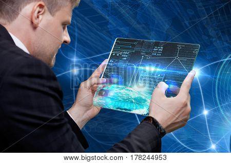Businessman touching digital touchscreen . Innovative technologies. Global business.