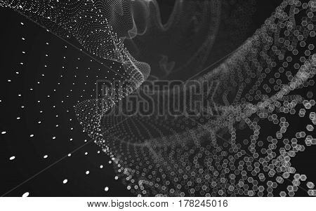 Abstract Polygonal Space Low Poly Dark Background, 3D Rendering