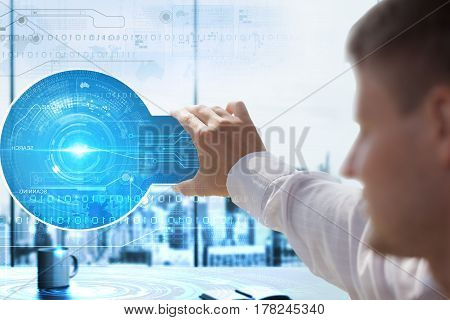 Business Technbusiness Technology Internet And Network Concept . Business Man Working On The Tablet
