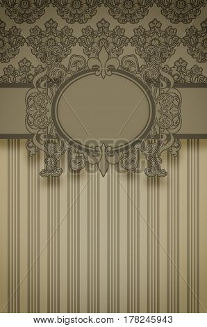 Decorative vintage background with old-fashioned frame and floral patterns.