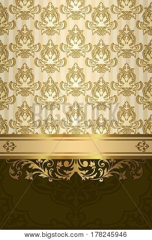 Vintage background with golden border old-fashioned decorative patterns and ornament.