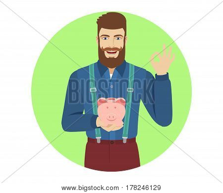 Hipster holding a piggy bank showing a okay hand sign. Portrait of hipster in a flat style. Vector illustration.