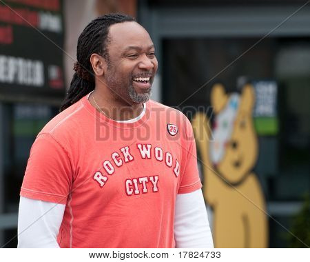 TELFORD, UK - MAY 5: Reginald D Hunter, award winning stand up comedian, takes time out between venues - May 5 2010 in Telford, UK