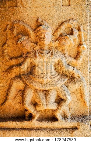 Ancient Basrelief Of Hindu Deities In Achyutaraya Temple