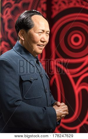 BANGKOK - JAN 29: A waxwork of Mao Zedong on display at Madame Tussauds on January 29 2016 in Bangkok Thailand. Madame Tussauds' newest branch hosts waxworks of numerous stars and celebrities