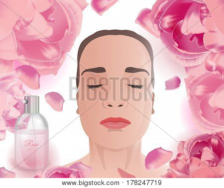 Woman using rose water face pack. Beautiful image with spray bottle and pink flowers on a white background. Premium cosmetic or perfumery ad concept. Vector illustration.