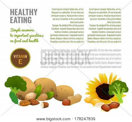 Vitamin D in food. Medical article or informative poster template with food source illustrations and a copyspace.