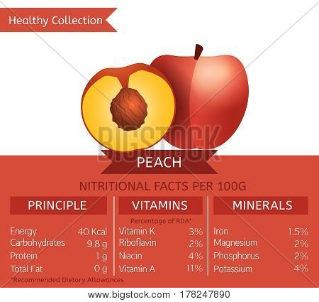 Peach health benefits. Vector illustration with useful nutritional facts. Essential vitamins and minerals in healthy food. Medical, healthcare and dietory concept.