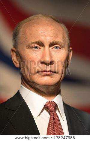 BANGKOK -JAN 29: A waxwork of Vladimir Putin on display at Madame Tussauds on January 29 2016 in Bangkok Thailand. Madame Tussauds' newest branch hosts waxworks of numerous stars and celebrities