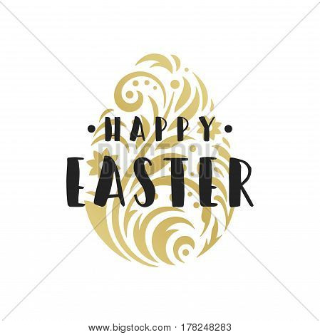Easter Greeting card text template and badge vector design element. Happy Easter typography message vintage style and ornament egg.