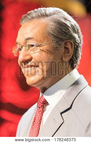 BANGKOK-JAN 29:A waxwork of Mahathir bin Mohamad on display at Madame Tussauds on January 29, 2016 in Bangkok, Thailand. Madame Tussauds' newest branch hosts waxworks of numerous stars and celebrities