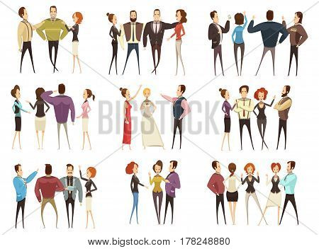 Set of business teams front and back views with men and women cartoon style isolated vector illustration