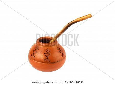 Clay cup for mate on white background