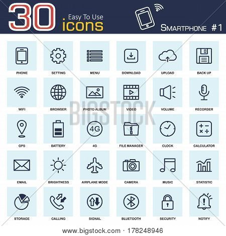 Smartphone system icon set 1 . outline style .