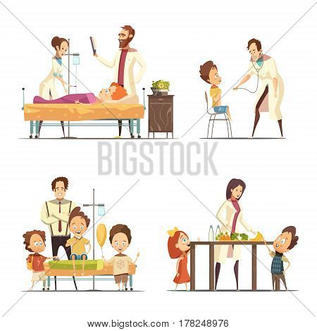 Ill children treatment in hospital 4 retro cartoon icons  with doctors nurse and parents isolated vector illustration