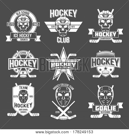 Ice hockey labels and design elements. The emblem with goalkeeper helmet, hockey pucks, sticks, protective masks , heraldic shields, wreaths, ribbon banners. Vintage Badge Logo Template
