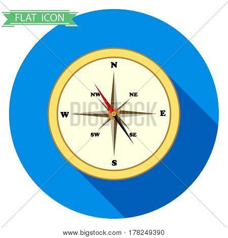 Compass icon. Flat design vector illustration vector.