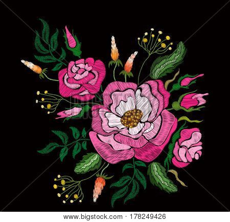 Ethnic embroidery pink rose peony flowers floral design. Fashion satin stitch stitches ornament on black for textile, fabric traditional folk decoration. Vector illustration stock vector.