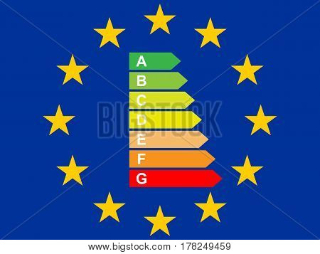 Flag of the European Union with Energy Label