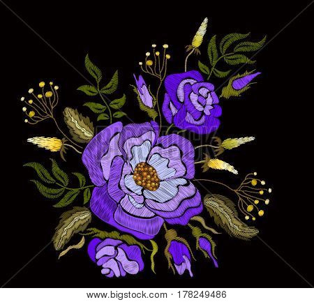 Ethnic embroidery blue rose peony flowers floral design. Fashion satin stitch stitches ornament on black for textile, fabric traditional folk decoration. Vector illustration stock vector.