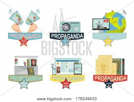 Voice web mass media and gifs propaganda icons set isolated on white background flat vector illustration poster