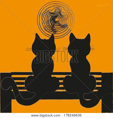 Two cats on a bench Silhouette image home favorite orange background sky moon evening two mammal's tail mustache ears sitting on a bench abstraction stock vector illustration