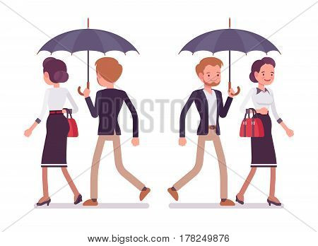 Set of young lady and gentleman in elegant smart casual wear, walking together safe under unfold black umbrella, pair in love, two friends, full length, front, rear view isolated, white background