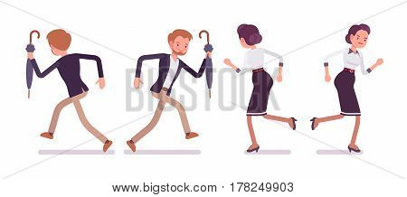 Set of young unhappy lady and happy gentleman in elegant smart casual wear, running away from each other, bad relationships, broken friendship, full length, front, rear view isolated, white background