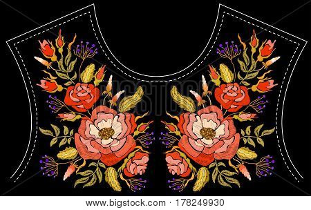 Ethnic embroidery rose peony flowers floral design for neckline. Fashion satin stitch stitches ornament on black for textile, fabric traditional folk decoration. Vector illustration stock vector.