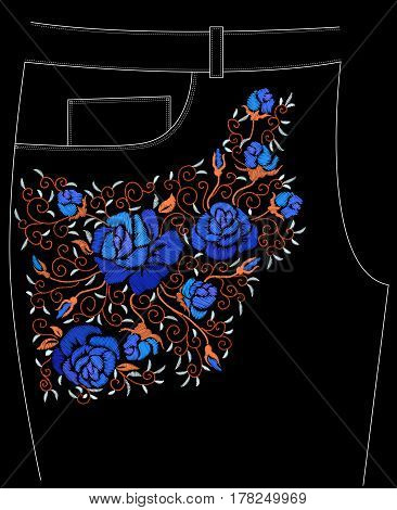 Ethnic embroidery blue rose flowers floral design for trousers. Fashion satin stitch stitches ornament on black for textile, fabric traditional folk decoration. Vector illustration stock vector.