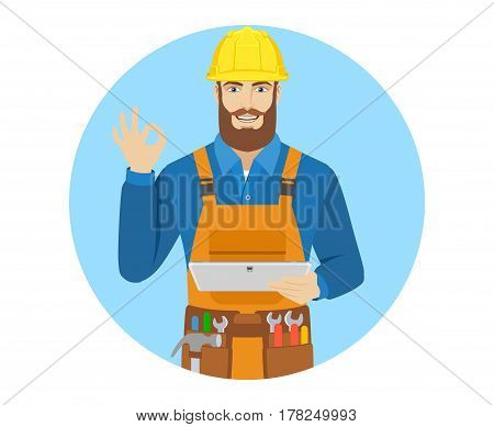 Worker holding digital tablet PC and showing a okay hand sign. Portrait of worker in a flat style. Vector illustration.