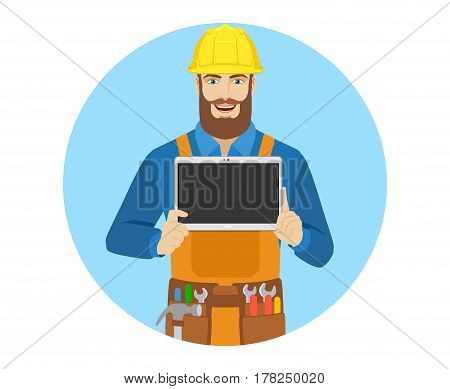 Worker showing blank digital tablet PC. Portrait of worker in a flat style. Vector illustration.