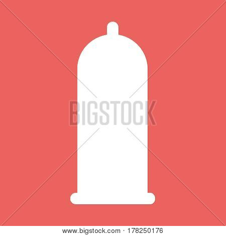 White condom flat vector icon illustration EPS10