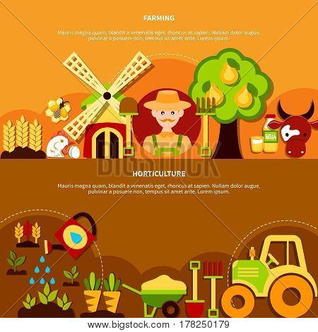 Agriculture banners set with agrimotor mill farm plants and equipment flat icon compositions with farmer character vector illustration