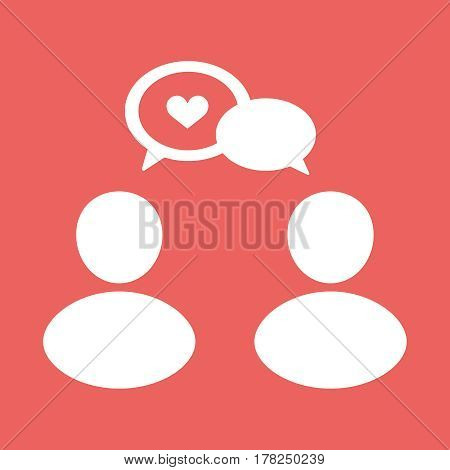 People talk white flat vector icon illustration, eps10
